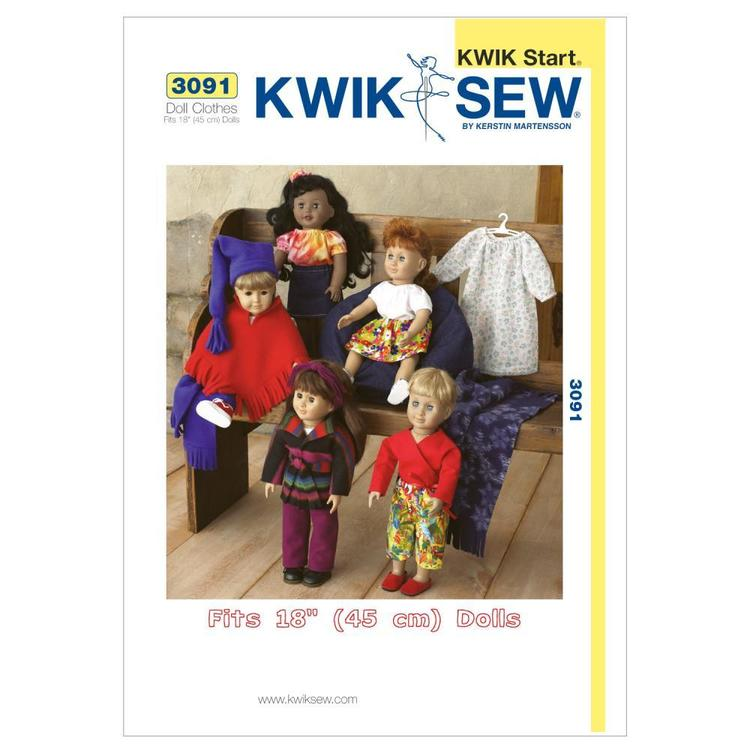 """Kwik Sew Pattern K3091 Outfits for 18"""" Doll"""