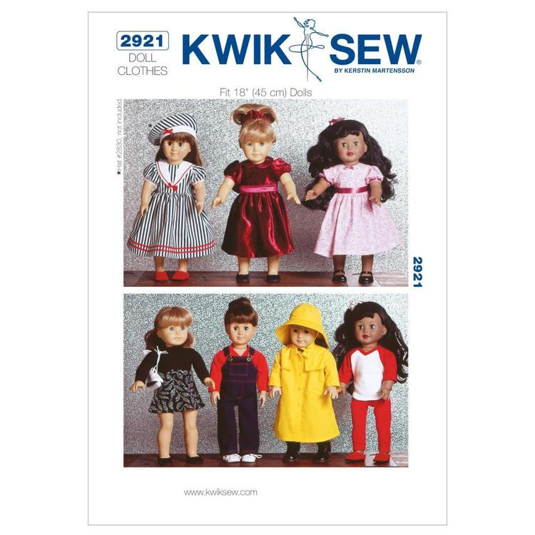 """Kwik Sew Pattern K2921 All Occasion Outfits for 18"""" Doll"""