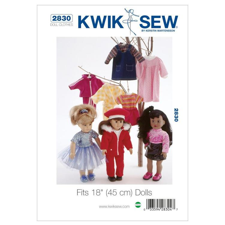 """Kwik Sew Pattern K2830 Outfits for 18"""" Doll"""
