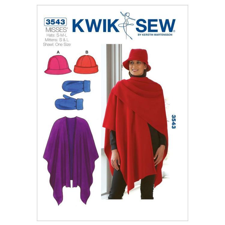 Kwik Sew Pattern K3543 Hats Mittens & Shawl