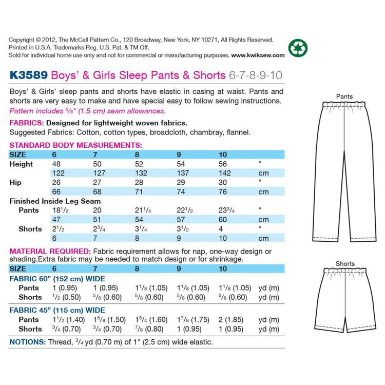 Kwik Sew K3589 Sleep Pants & Shorts  6 - 10
