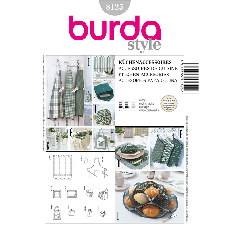 Burda Pattern 8125 Kitchen Accessories