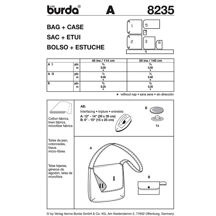 Burda 8235 Bags All Sizes