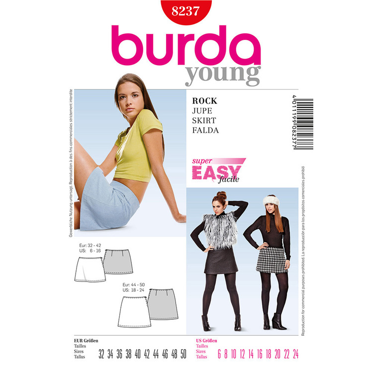 Burda Pattern 8237 Women's Skirt