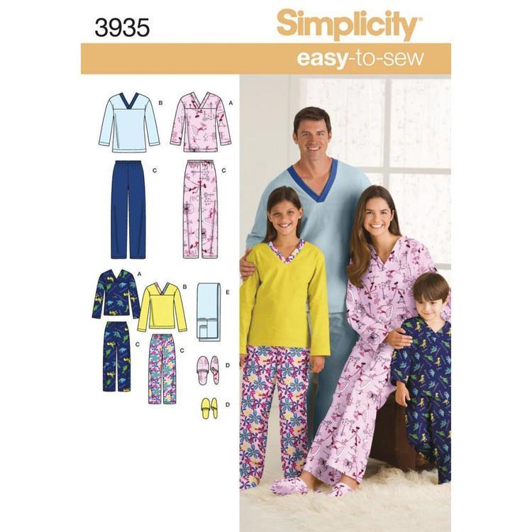 Simplicity Pattern 3935 Unisex Sleepwear