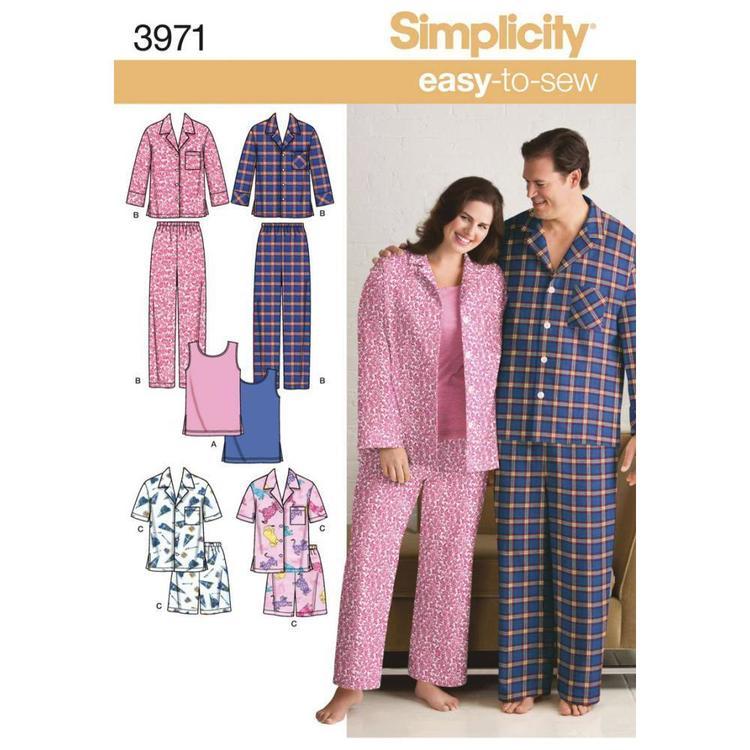 Simplicity Pattern 3971 Unisex Sleepwear