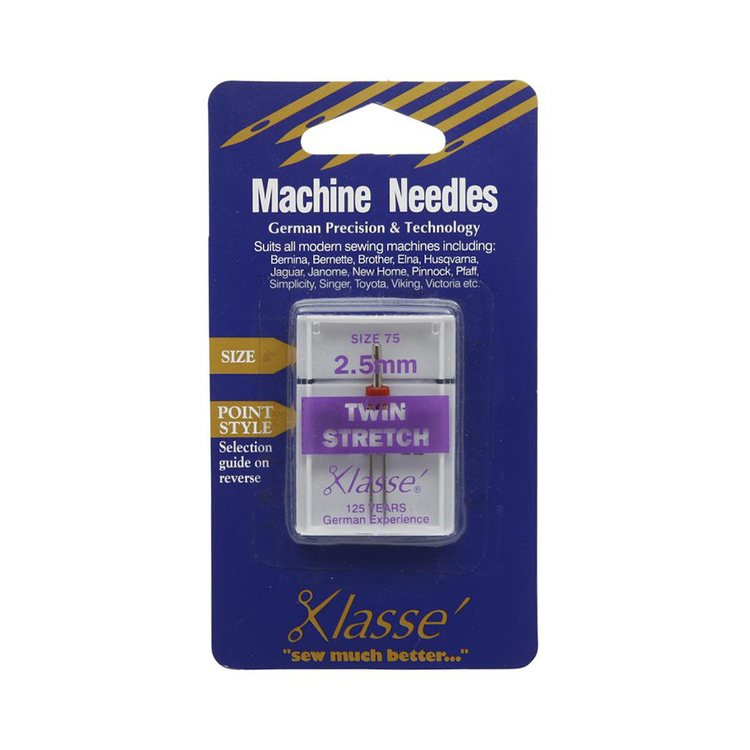 Klasse Twin Stretch Sewing Machine Needles Silver
