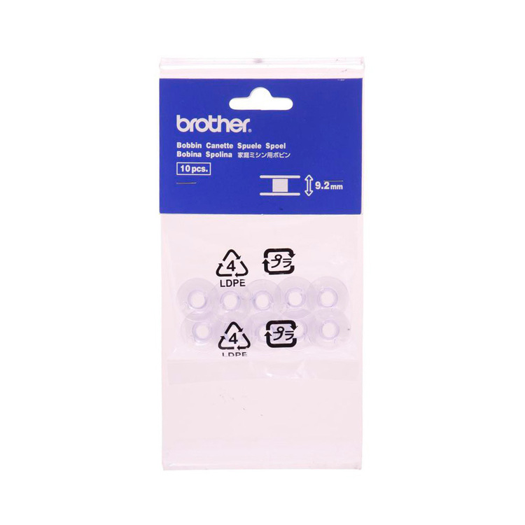 Brother 9.2 mm Bobbins Clear 10 x 9.7 mm