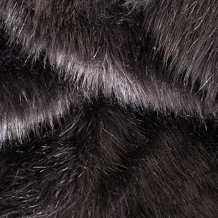Plain 148 cm J305 Fox Fur Fabric Black