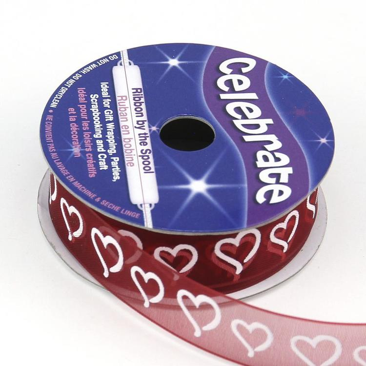 Celebrate 15 mm Organza Curly Hearts Ribbon