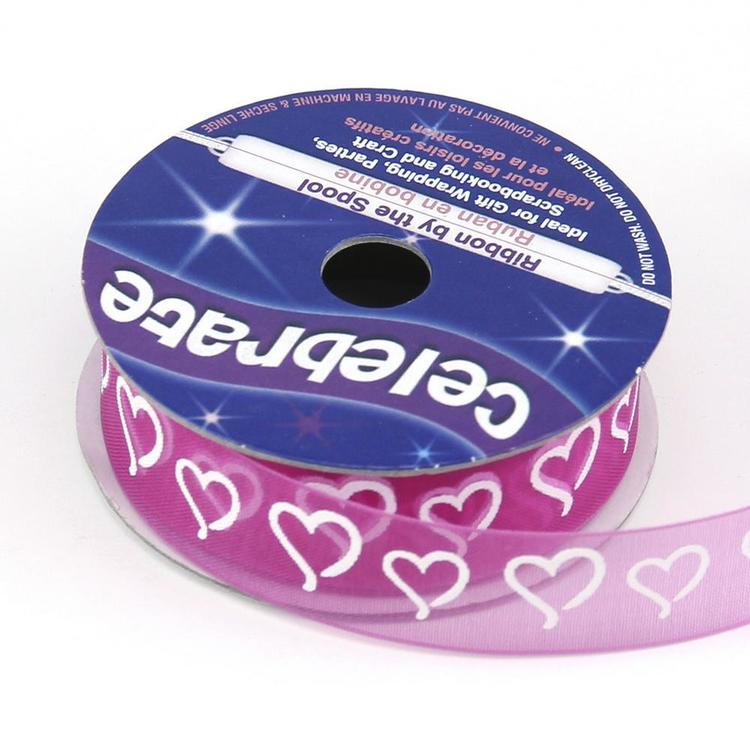 Celebrate 15 mm Organza Curly Hearts Ribbon