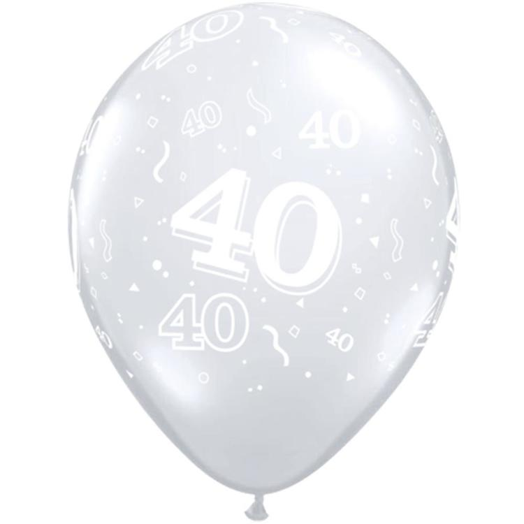 Qualatex 40th Latex Balloon Diamond Clear