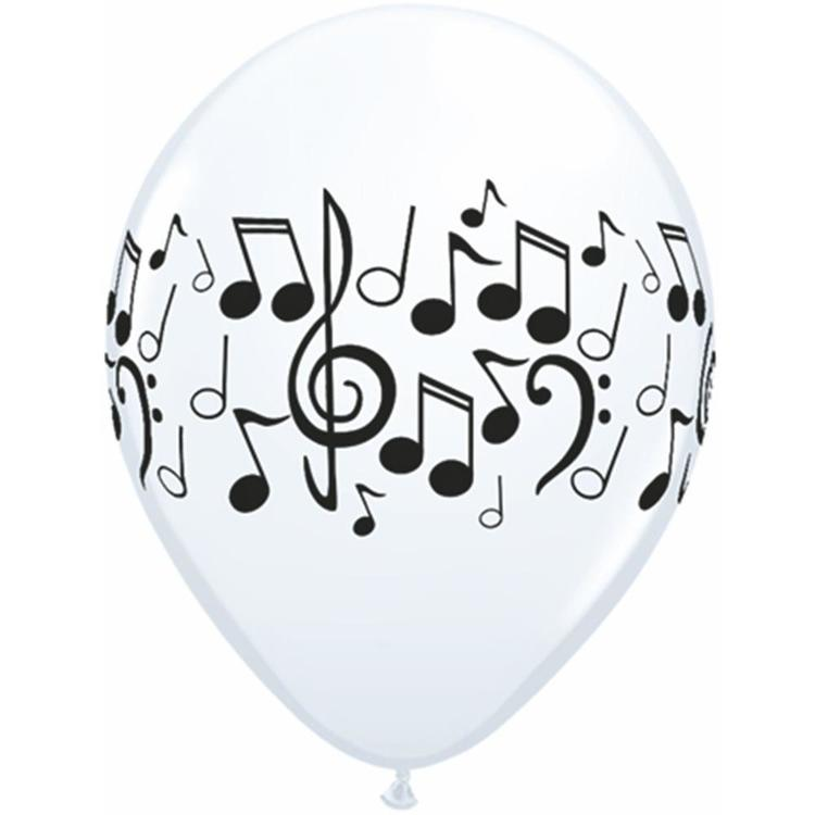 Qualatex Musical Notes Latex Balloon White