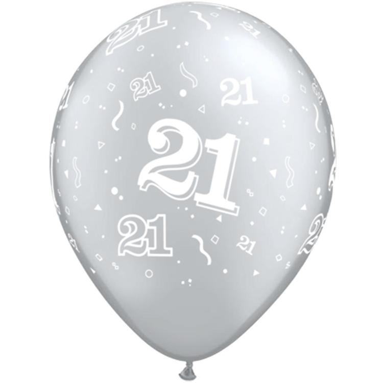 Qualatex 21st Latex Balloon Silver