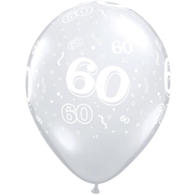 Qualatex 60th Latex Balloon Diamond Clear