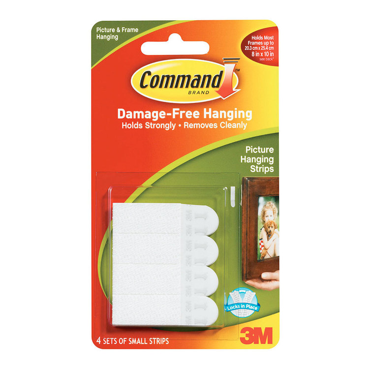 3M Command Small Picture Hanging Strips 8 Pack White Small