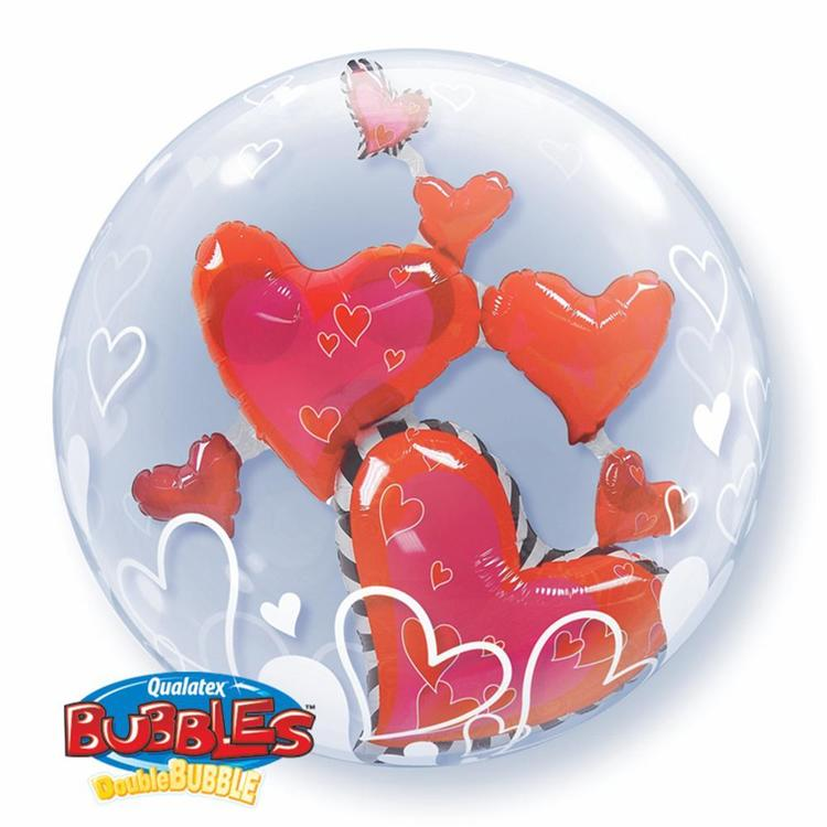 Qualatex Bubbles Lovely Floating Heart Balloon Clear & Red