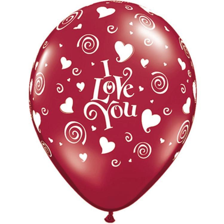 Qualatex I Love You Swirling Hearts Latex Balloon