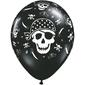 Qualatex Pirate Skull & Cross Latex Balloon Black & White