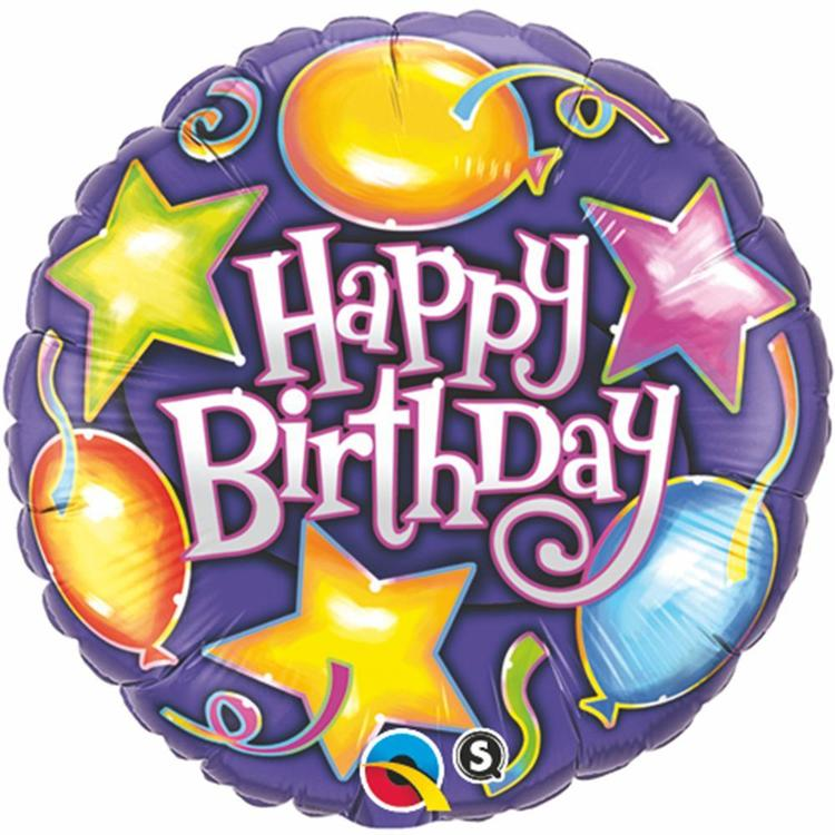 Qualatex Birthday Stars & Foil Balloons Foil Balloon Purple 45 cm