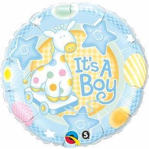Qualatex It's A Boy Soft Giraffe Foil Balloon