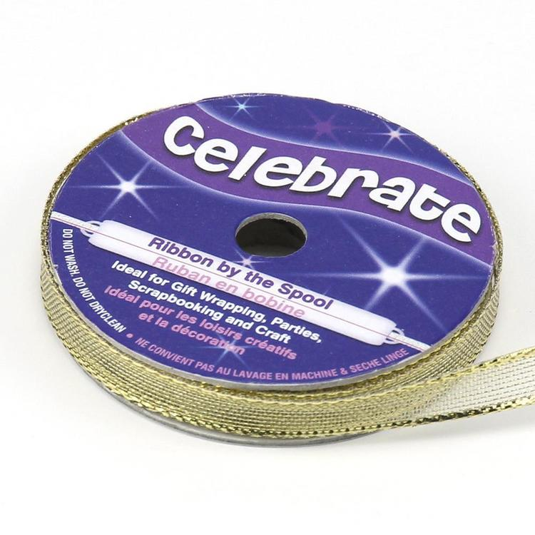 Celebrate 7 mm Metallic Sheer Ribbon Gold 7 mm x 6 m