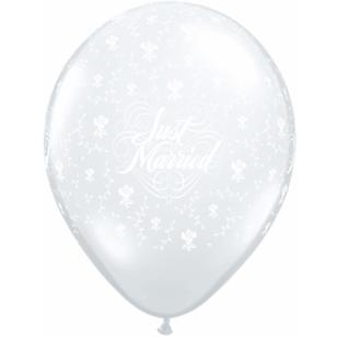 Qualatex Just Married With Flowers 28 cm Latex Balloon