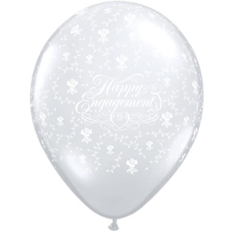 Qualatex Happy Engagement Latex Balloon Diamond Clear