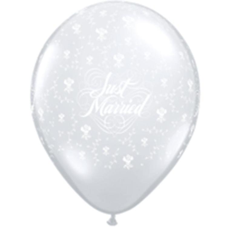 Qualatex Just Married With Flowers 12.5 cm Latex Balloon Diamond Clear