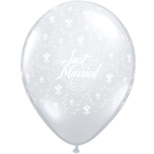 Qualatex Just Married With Flowers 12.5 cm Latex Balloon