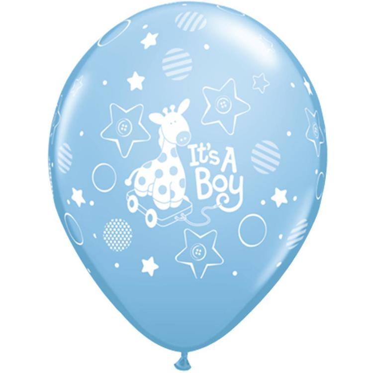 Qualatex It's A Boy Giraffe Latex Balloon Pale Blue