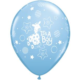 Qualatex It's A Boy Giraffe Latex Balloon