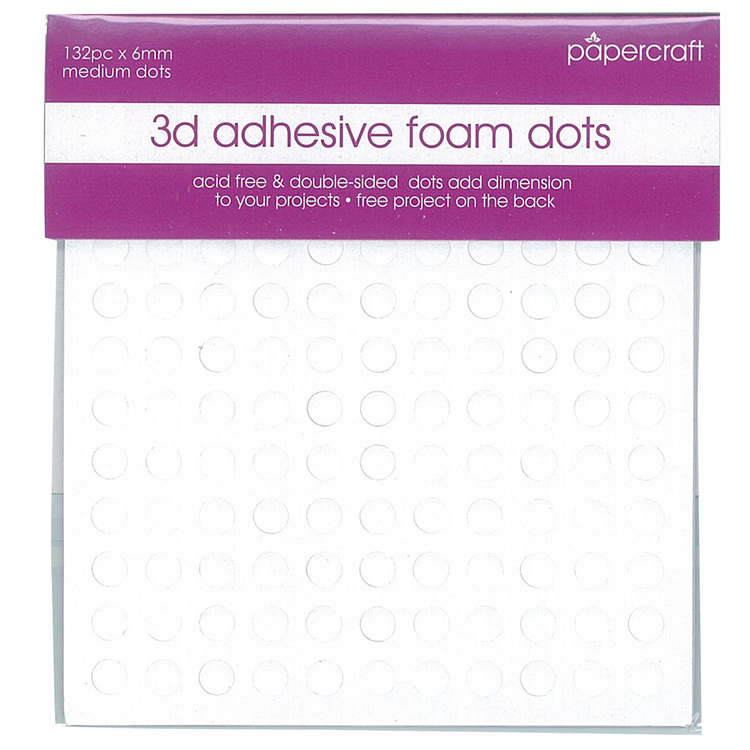 Papercraft 3D Foam Dots White 6 mm