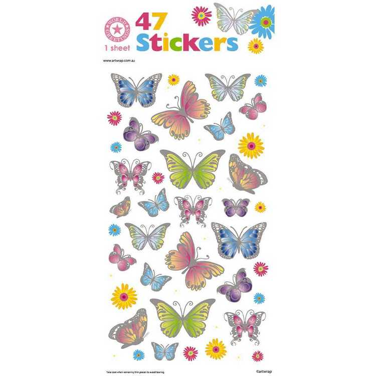 World Greetings Silver Edged Butterfly Stickers Multicoloured