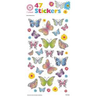 World Greetings Silver Edged Butterfly Stickers