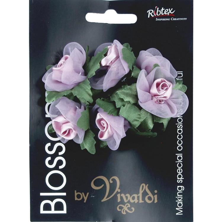 Vivaldi Blossoms 6 Head Organza Roses With Leaves