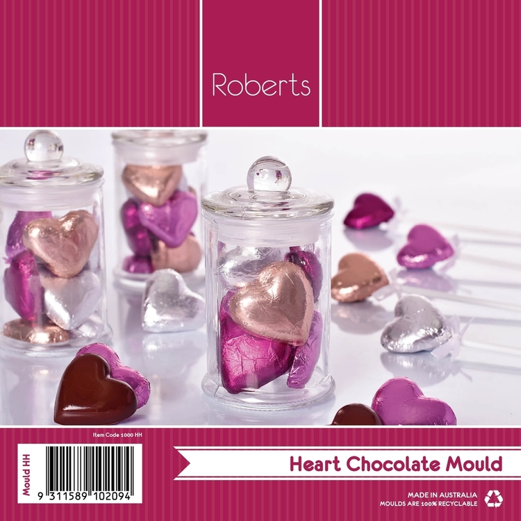 Roberts Edible Craft Plain Hearts Chocolate Moulds Clear
