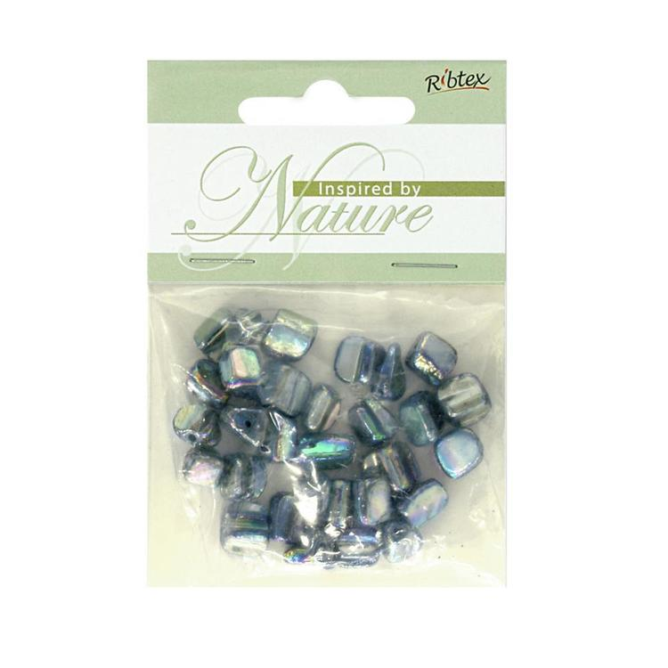 Ribtex Inspired by Nature Small Lustre Shell Cubes Turquoise 8 mm