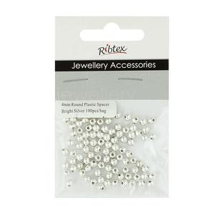 Ribtex Jewellery Accessories Round Plastic Spacer 100 Pack