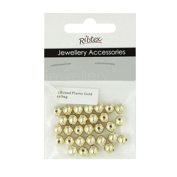 Ribtex Jewellery Accessories Round Plastic Spacer 30 Pack