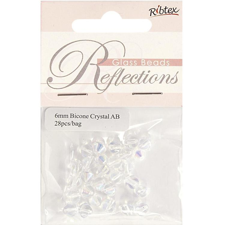 Ribtex Reflections Crystal Bicone Beads Crystal 6 mm