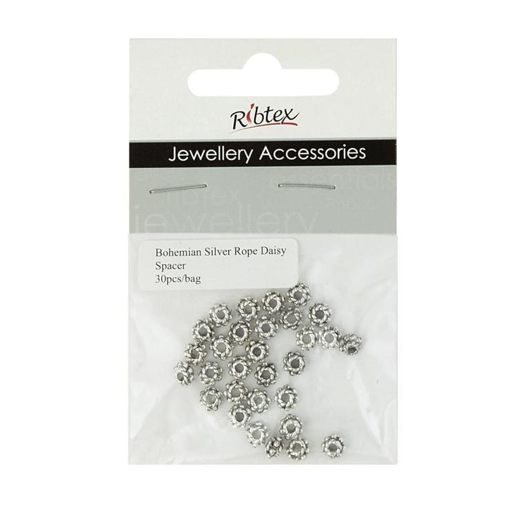 Ribtex Jewellery Accessories Rope Daisy Spacer Silver