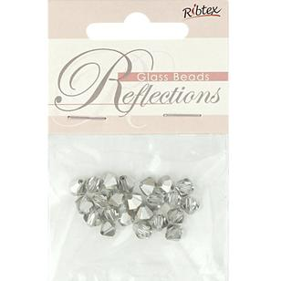 Ribtex Reflections Bicone Glass Beads 28 Pack