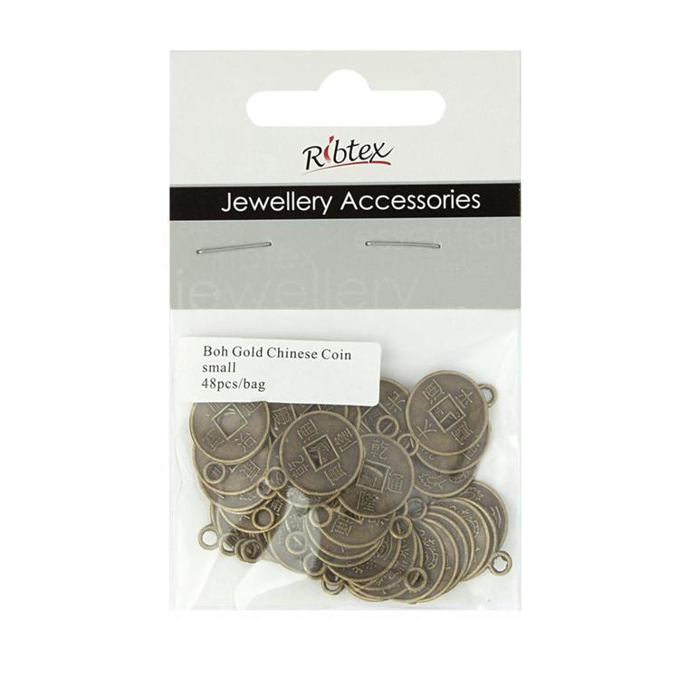 Ribtex Jewellery Accessories Chinese Coin Charms Bohemian Gold Small