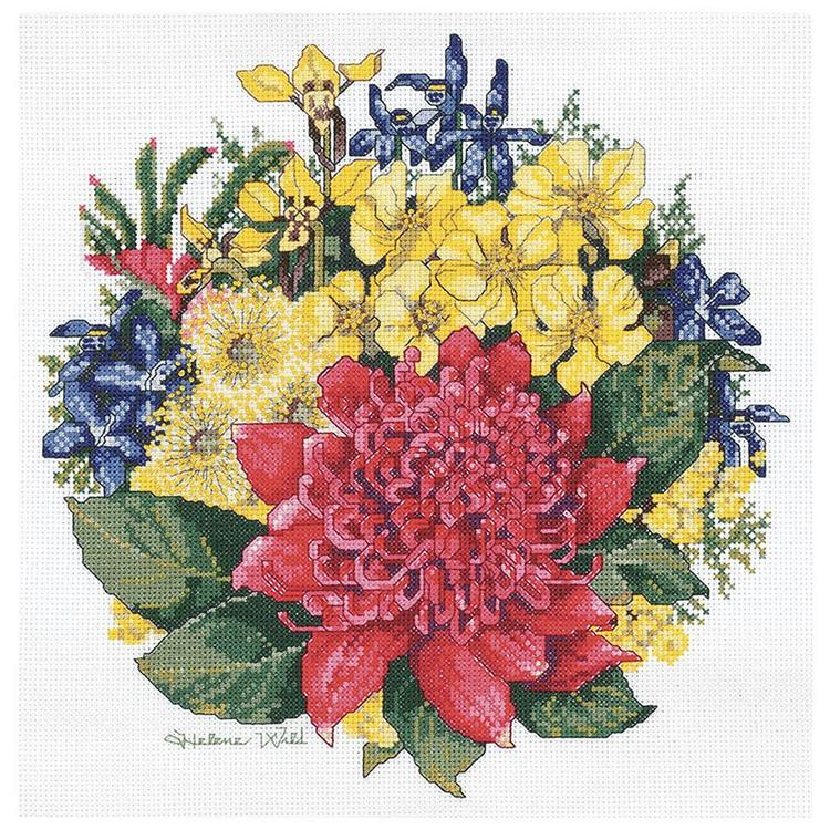 DMC By Leuts Helene Wild Waratah Bouquet Cross Stitch Multicoloured