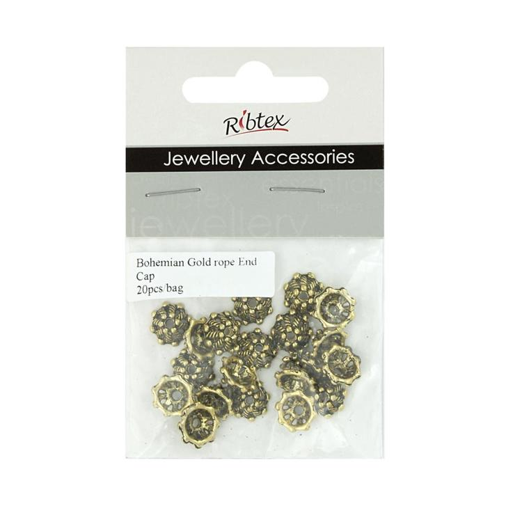 Ribtex Jewellery Accessories Rope End Caps Bohemian Gold 10 mm