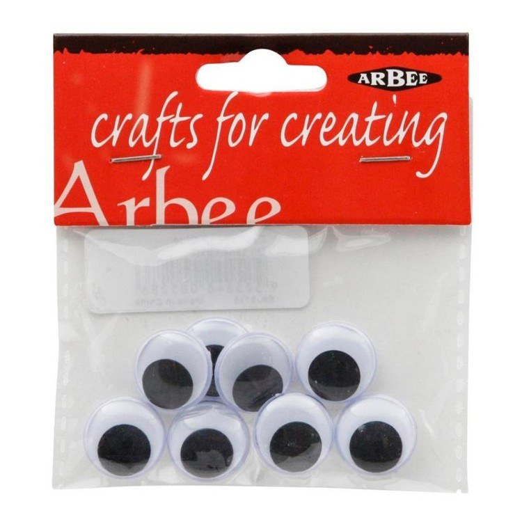 Arbee Stick On Joggle Eyes 8 Pack Black 15 mm
