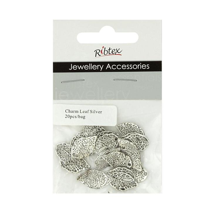 Ribtex Jewellery Accessories Bali Leaf Charms 20 Pack Silver