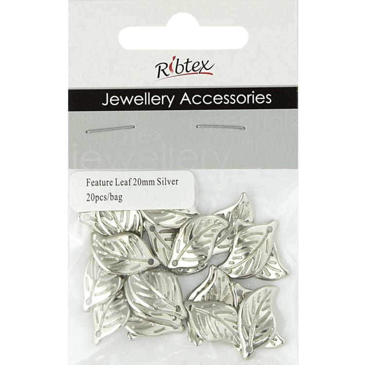 Ribtex Jewellery Accessories Leaf Charms Silver 20 mm