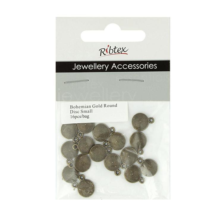 Ribtex Jewellery Accessories Bali Round Disc Charms Bohemian Gold 9 mm